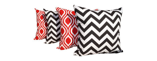 Land of Pillows - Zig Zag Black and Nicole Red and White Ogee Indoor Throw Pillows - Set of 4, 20x - Fabric Designer - Premier Prints