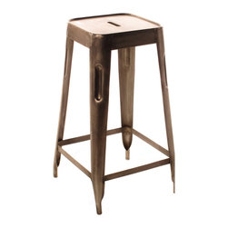 Kathy Kuo Home - Ironworks Industrial Loft Aged Nickel Bar Stool - The vintage design of this bar stool is reminiscent of the seat you sat on in high school science class, only much hipper. The utilitarian ironworking and nickel finish of this stool bring authenticity and function to your urban loft's bar.