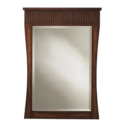 Home Decorators Collection - Fuji Mirror - Our Fuji Mirror features a thick border of Arts and Crafts style fluting along the top and sides that curve gently inward. The classic style and modern sensibility of this solid wood mirror will add the perfect finishing touch to your bathroom decorating concept. Old walnut finish. Includes hook for easy hanging. Can only be hung vertically.