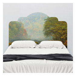 J. Paul Moore - Paul Moore's Fall in Big South Fork National Park Headboard Wall Decal - This is an adhesive headboard wall decal, but it looks like a Thomas Kinkade painting (did your grandmother get you those puzzles too? He is the Painter of Light). Snuggle up with these autumn colors as your headboard.