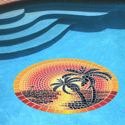"""Frontgate - Island Sunset Pool Mat - 59"""" dia. - Brightly colored, realistic 3D mosaic appearance. UV ray and pool chemical-resistant. Durable and long lasting. Must be used on a flat, smooth surface. Resists curling, warping, underwater shifting and sliding. Beautiful yet durable, this artistic mat adds a timeless look to your pool with it's tiled mosaic design. Cleverly engineered with a heavier vinyl than others, it uses gravity and water pressure to stay in place. This means it can be easily removed, and doesn't require the use of messy adhesives. Simply place it on the pool water's surface, let it sink to the bottom then flatten as necessary. Peel off for removal. For routine pool cleaning, it doesn't need to be moved.  .  .  .  .  . 100% USA-made ."""