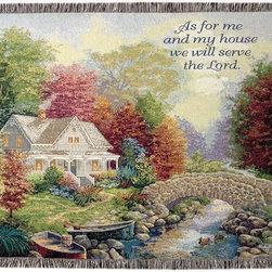 Manual - Autumn Tranquility Country Home Tapestry Blanket 50 in x 60 in with Bible Verse - This multicolored woven tapestry throw blanket is a wonderful addition to any home. Made of cotton, the blanket measures 50 inches wide, 60 inches long, and has approximately 1 1/2 inches of fringe around the border. The blanket features a depiction of a country home, with a creek running through the front yard, with 'As for me and my house, we will serve the Lord' printed in the top right corner. Care instructions are to machine wash in cold water on a delicate cycle, tumble dry on low heat, wash with dark colors separately, and do not bleach. This comfy blanket makes a great gift for friends and family.