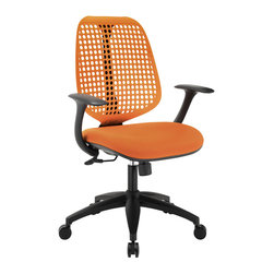 Modway - Reverb Office Chair EEI-1174 Orange - Reverb is a flexible and responsive chair built for years of ergonomic comfort. Designed to offer support over both your lower and upper back regions, the adaptable mesh back and waterfall seat design help keep you alert, while effectively distributing the weight of your body. The pneumatic lever and tension control knob fine-tune the chairs height and tilt to personalize Reverb, while the armrests keep your upper-body is well-positioned. Although mesh designs have increased in popularity in recent years, Reverb offers a choice that is both stylish and works admirably well to protect your body from daily stresses. The nylon base comes equipped with five dual-wheeled hooded casters for easy gliding over carpeted surfaces, and the molded foam seat pan comes generously padded for extra comfort.