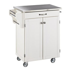 HomeStyles - Kitchen Cart in White Finish - With a touch of modern styling, this kitchen cart features a stainless top that matches beautifully with its white wood finish. This piece has an open utility drawer, side rack, towel bars and a cabinet for easy storage and convenience. * One utility drawer. Two cabinet doors open to storage with adjustable shelf inside. Handy spice rack. Towel bar. Heavy duty locking rubber casters for easy mobility and safety. Stainless steel top. Made from Asian hardwood and steel. Made in Thailand. Assembly required. 32.5 in. L x 18.75 in. W x 35.5 in. HCreate-a-Cart is a unique and refreshing solution for kitchen utility. Construction consists of sustainable hardwood with a clear coat finish helping to protect against wear from normal use.