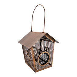 Zeckos - Copper Finish Metal Wire Mesh House Shaped Bird Feeder - Turn your garden landscape into a backyard bird diner sure to make your feathered friends happy This decorative house shaped bird feeder is crafted from metal with a handsome weathered copper finish, and a wire mesh construction to help deter squirrels. Simply remove the 6 inch handle, and the lid easily lifts off to fill. Measuring 8 inches (20 cm) high, 7.25 inches (18 cm) long and 7 inches (18 cm) wide it's sure to hold plenty of seed for a bevy of feathered beauties in your garden, on the patio or just in the backyard