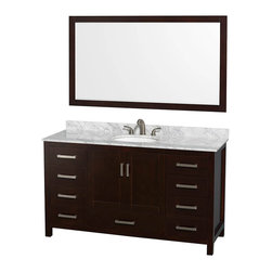 "Wyndham Collection - Wyndham Sheffield 60"" Single Sink Espresso, White Carrera Marble, Oval Sink - Wyndham Collection®"