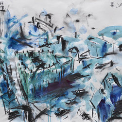 Downtown (Original) by Robert Joyner - This is a large mixed media cityscape painting on 90 lb. archival paper and is available unframed only. It's inspired from a trip I took to an Observatory in downtown Richmond, Virginia which had some fantastic ariel views of downtown. I took some pics while there which I used as a photo reference.