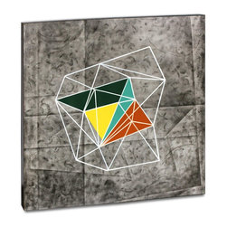 "Vertuu Design - 'Geomolecule III' Artwork - Bring a pop of color to your home using the ""Geomolecule III"" Artwork. Featuring a colorful geometric shape, textured charcoal background and white geometric outline, this hand-painted acrylic canvas piece has a bold, futuristic look. Display it among neutral design elements to create a dramatic contrast or pair it with its sister piece, ""Geomolecule I,"" to create a gallery-style effect."