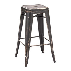 Design Lab MN - Amalfi Stackable Vintage Matte Black + Gold Steel Barstool Set of 4 - You may have seen these chairs at the newest restaurants in Chicago and New York. They add a unique authentic vintage flair to your establishment or home with this stunning black and gold industrial metal stool.