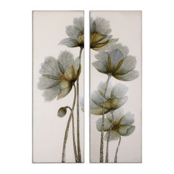 Uttermost - Floral Glow Floral Art, Set of 2 - Your whole room will feel in bloom when you hang this set of two stunning floral paintings by Grace Feyock. These hand-painted botanical beauties will add grace and ethereal loveliness to your decor.