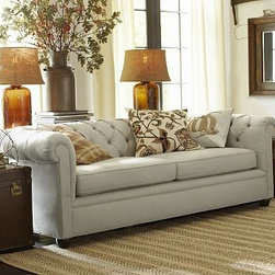 "Chesterfield Upholstered Grand Sofa, Polyester Wrap Cushions, Washed Denim Duran - Comfort and style define our Chesterfield Collection, expertly crafted in America using eco-friendly components. The sofa is detailed with deep button tufts and plush, sheltering arms. 96"" w x 41"" d x 31"" h {{link path='pages/popups/PB-FG-Chesterfield-3.html' class='popup' width='720' height='800'}}View the dimension diagram for more information{{/link}}. {{link path='pages/popups/PB-FG-Chesterfield-4.html' class='popup' width='720' height='800'}}The fit & measuring guide should be read prior to placing your order{{/link}}. Polyester-wrapped cushions have a tailored and neat look. Proudly made in America, {{link path='/stylehouse/videos/videos/pbq_v36_rel.html?cm_sp=Video_PIP-_-PBQUALITY-_-SUTTER_STREET' class='popup' width='950' height='300'}}view video{{/link}}. For shipping and return information, click on the shipping info tab. When making your selection, see the Special Order fabrics below. {{link path='pages/popups/PB-FG-Chesterfield-5.html' class='popup' width='720' height='800'}} Additional fabrics not shown below can be seen here{{/link}}. Please call 1.888.779.5176 to place your order for these additional fabrics."