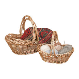 """Renovators Supply - Baskets tan Wicker Kitchen Basket Set of 3 - Kitchen Basket Set. Nesting baskets for all those odds and ends.  Set of 3 wicker baskets offer instant extra storage almost anywhere.  Large is 6"""" wide x 27 1/2"""" long x 17"""" high.  Medium is 6"""" wide x 22"""" long x 13 1/2"""" high.  Small is 4 1/2"""" wide x 18"""" long x 12"""" high."""