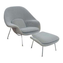 Fine Mod Imports - Eero Saarinen Style Womb Chair and Ottoman | Light Gray - This wonderful Eero Saarinen Style chair features a molded fiber-glass frame, fire retardant polyurethane foam padding, and covered with wool fabric. 100% Wool Solid Stainless Steel Base.