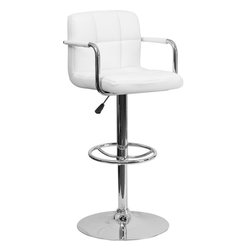 Flash Furniture - Flash Furniture Contemporary White Quilted Vinyl Adjustable Height Bar Stool - This sleek dual purpose stool easily adjusts from counter to bar height. The simple design allows it to seamlessly accent any area in the home. Not only is this stool stylish, but very comfortable to provide you with an amazing sitting experience! The easy to clean Vinyl upholstery is an added bonus when stool is used regularly. The height adjustable swivel seat adjusts from counter to bar height with the handle located below the seat. The chrome footrest supports your feet while also providing a contemporary chic design.