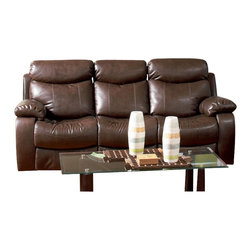 Coaster - Coaster Denisa Three Seat Reclining Leather Sofa in Rich Brown - Coaster - Sofas - 600561 -This reclining sofa will make a wonderful addition to your living room with its casual comfort and style. Plush double reclining scoop seats offer the ultimate in comfort. The horizontally split back cushions provide lumbar support, and the fully cushioned chaise pad seats provide comfort from head to toe. Pair with the coordinating loveseat and recliner for a terrific room setting.