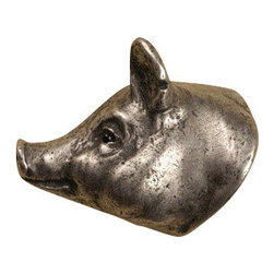 Anne at Home Hardware - Pig Head  Knob, Antique Bronze - Made in the USA - Anne at Home customized cabinet hardware enables even the most discriminating homeowner to achieve the look of their dreams.  Because Anne at Home cabinet hardware is designed to meet your preferences, it may take up to 3-4 weeks to arrive at your door. But don't let that stop you - having customized Anne at Home cabinet knobs and pulls are well worth the wait!   - Available in many finishes.