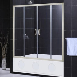 """DreamLine - DreamLine SHDR-1160586-04 Brushed Nickel Visions Visions Sliding Tub - Sliding Tub Door from the Visions Series The DreamLine™ VISIONS tub door offers a simple, yet elegant door design for any bathroom. With center opening sliding doors, anodized aluminum framing in a choice of chrome or brushed nickel finish and options of clear or frosted glass – VISIONS doors offer a great solution for any bathroom remodeling project. The width may be further adjusted to 56"""" if required to fit a more narrow shower or tub opening. The smart design of the two sliding doors includes full length magnetic strips and fast wheel release for easy glass and aluminum bottom track cleaning. Product Specifications:  Two sliding doors Tempered 1/4"""" clear glass Anodized aluminum profiles and frames Adjustable between 56""""-60"""""""