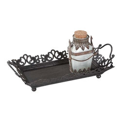 Metal Tray with Handles - Replace your boring serving trays with this graceful and ornate metal tray. Featuring outward-flaring floral pattern on its borders along with easy-to-grasp handles, this tray capably functions as a serving aid for dinner parties or as a display piece.