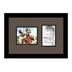 ArtToFrames - ArtToFrames Collage Photo Frame  with 1 - 4x6, 5x6 Openings - This classic Satin Black, 1.25 inch wide collage frame, features a multiple opening display for 1 - 4x6, 5x6 pictures of your choice. This collage is part of an extensive collage frame selection and boasts a sweeping line of durable frames at a low-cost you can be happy about! Handcrafted and created to suit your pictures ensuring you 1 - 4x6, 5x6 art will fit right in. Bordered in a bold Satin Black, high-end frame and accompanied by a sophisticated Chestnut mat, the collage arrangement most definitely showcases your original prized artwork, and most cherished memories in an entirely incredible and fresh way. This collage frame comes protected in Regular Glass, available with appropriate hardware and can be hung up in the blink of an eye. These premium quality and rustic wood-based collage frames differ in style and size specifics; all in contemporary and modern design. Mats are available in a assemblage of color tones, openings, and shapes. It's time to tell your story! Preserving your displaying your memories in an original and imaginative contemporary way has never been easier.