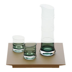 Japanese Glassware Sake Sets Bamboo, Green with Tray - Our Bamboo Series features glassware in various enchanting forms that all focus on bamboo as a motif for the design. Bamboo exhibits both a distinguished character and charm that earn it a high place even among other Japanese nature motifs.