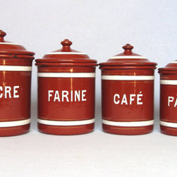 Vintage French Enamelware Canister Set by Yesterday's France - If you're craving bold color in the kitchen, these bright red canisters will add a pop of vintage chic.
