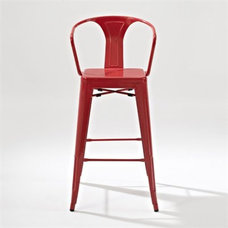Crosley Furniture Amelia Metal Cafe Barstool with Back in Red Set of 2