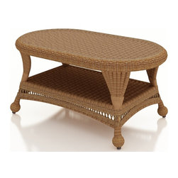 Forever Patio - Catalina Outdoor Wicker Coffee Table, Straw Wicker - Keep everything you need within easy reach with the traditionally styled Forever Patio Catalina Coffee Table in Straw Wicker (SKU FP-CAT-CT-ST). The UV-protected, straw-colored wicker incorporates subtle shifts in tones, providing a look that is complex and beautiful. A tempered glass top is optionally available with this table.