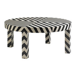 DwellStudio Chevron Cocktail Table - This fun and funky coffee table adds pizzazz wherever it goes. We'd use it in a teenager's room.