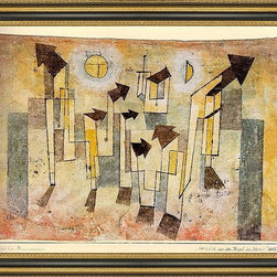 """Art MegaMart - Paul Klee Wall Painting Temple Longing - 18"""" x 24"""" Paul Klee Wall Painting from the Temple of Longing framed premium canvas print reproduced to meet museum quality standards. Our Museum quality canvas prints are produced using high-precision print technology for a more accurate reproduction printed on high quality canvas with fade-resistant, archival inks. Our progressive business model allows us to offer works of art to you at the best wholesale pricing, significantly less than art gallery prices, affordable to all. This artwork is hand stretched onto wooden stretcher bars, then mounted into our 3 3/4"""" wide gold finish frame with black panel by one of our expert framers. Our framed canvas print comes with hardware, ready to hang on your wall.  We present a comprehensive collection of exceptional canvas art reproductions by Paul Klee."""