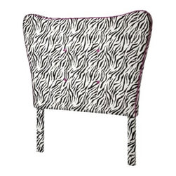 Zebra Headboard with Pink Piping - Girls will go wild for this zebra headboard. Its unique shape features bright pink piping and is tufted with bright pink buttons.
