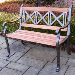 Oakland Living - Triple Cross Bench in Antique Bronze - Made of Durable Tubular Iron and Wood Construction. Easy to follow assembly instructions and product care information. Stainless steel or brass assembly hardware. Fade, chip and crack resistant. 1 year limited. Lightweight and constructed of durable tubular iron and wood. Hardened powder coat finish in Antique Bronze for years of beauty. Antique Bronze finish. Some assembly required. 42.5 in. W x 23.5 in. L x 34 in. H (36 lbs.)This bench will be a beautiful addition to your patio, balcony or outdoor entertainment area. Our Benches are perfect for any small space, or to accent a larger space.