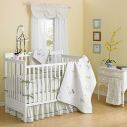 Laugh Giggle And Smile - New Country Home Zen Garden 10-Piece Crib Bedding Set - The Zen Garden Crib Bedding Set offers embroidered motifs of ferns and dragonflies on a vermicelli stitch. The 10-piece set includes a comforter, crib sheet, valance, crib skirt, blanket, diaper stacker, musical mobile and 3-piece wall décor.