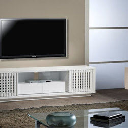 "FURNITECH - FURNITECH - MODEL FT82WSLW - 82"" Contemporary High Gloss White Lacquer TV Stand Media Console for Flat Screen and Audio Video Installations."