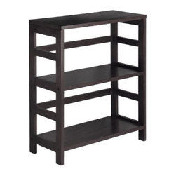 Winsome Wood - Leo 2-Tier Shelf, Wide - Our Leo 2-Tier Wide Shelf has two sections that can hold the Espresso Large Storage Basket or two Small Storage Baskets perfectly. Mix and match with the other Espresso Storage Shelves.