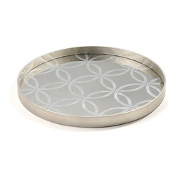 Circle Tray - If your decor has Arts and Crafts Movement design influences, use the Circle Large Tray for its resemblance to the heirloom double wedding ring quilt pattern, updated in chic metallics; if you prefer a more global look, choose this tray to serve hors d'oeuvre from a mirrored Moroccan design. The adaptable tray is made with a silver-leafed pattern of interlocking circles over a pane of mirror. An unbroken vertical rim completes the edges.