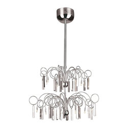 """Joshua Marshal Home - 20 Light 46"""" Chrome Modern Pendant Chandelier with Crystal Accents - Simplicity is stylish in this contemporary chrome pendant chandelier with dazzling crystal prisms. This beautiful fixture is 26.75"""" wide by 46.5"""" tall."""