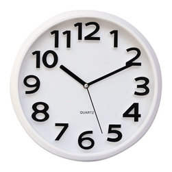 """Universal - Universal Round Wall Clock, White, 13"""" - Contrasting raised numerals add an exciting design element. Thick rounded frame provides an elegant contrast point to better display the clock's face. Larger size enhances the visual appeal while making it easier to read at a glance."""