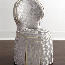 """Haute House - Samantha Garden Dining Chair - LIGHT GOLD - Haute HouseSamantha Garden Dining ChairDetailsEXCLUSIVELY OURS.From Haute House Alder wood frame.Polyester/linen and polyester/cotton upholstery.Solid welt and underskirting.21.5""""W x 21.5""""D x 36.5""""T; seat 21.5""""W x 16""""D x 19""""T.Handcrafted in the USA of imported materials.Boxed weight approximately 38 lbs. Please note that this item may require additional shipping charges.Designer About Haute House:Haute House is a Hollywood-based design and manufacturing company that creates haute couture furnishings for the home. Designer and owner Casey Fisher has been designing furniture for years as an upholstery textile and retail space stylist. Instead of designing a line offering just one look the Haute House line consists of three looks that offer something for every taste. However there is one element present in every Haute House design a great sense of style."""