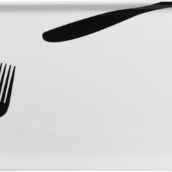 k.f. plate - fork it over. Tromp l'oeil take on simple etiquette framed in white porcelain rectangle. Black knife/fork graphics serve fun 3D effect to plate entrees or amuse a bouche. Mix in with our SKF appetizer plate (see additional photos).- Porcelain- 3D black knife/fork design on white- Dishwasher- and microwave-safe- Made in China- See dimensions below