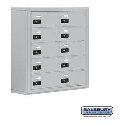 Salsbury Industries - Cell Phone Storage Locker - 5 Door High Unit - 10 B Doors - Cell Phone Storage Locker - 5 Door High Unit (8 Inch Deep Compartments) - 10 B Doors - Aluminum - Surface Mounted - Resettable Combination Locks