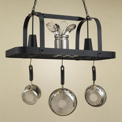 Baker Collection Hanging Pot Rack - Baker Collection Hanging Pot Rack featuring an all-metal frame and built-in electric lighting Available in various sizes Includes six movable hooks Two built-in electric lights Full-length shelf area Comes in a variety of finishes About This Hanging Pot Rack: The Baker Collection Hanging Pot Rack provides beautiful but understated functionality to any kitchen. The overhead unit features a 36-inch or 44-inch long all-metal frame in a simple overhead hanging design. The pot rack also provides convenient overhead lighting with the two electric lights built into the upper shelf. The shelf affords the owner extra storage or display space.