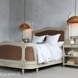 Eloquence Collection Arabella Bed - Antique reproduction Arabella Bed with beautiful curving foot-board. Hand-finished in distressed Duck Egg grey surrounding a gorgeous inset natural cane. Orderable with 12 week lead time.