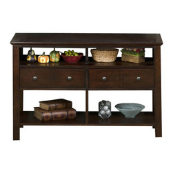 Jofran - Jofran 364-4 Mini Sofa/Media Table with 4 Openings and 2 Drawers - Use this versatile piece as a sofa or a media table in your home. Four open storage compartments are ideal for displaying holiday decor, books, bowls or anything to display your own special personality and style. If using this piece as a media table, the two drawers are perfect for storing movies, games and other media accessories. each drawer has two small knobs giving the piece a casual look. finished in a dark brown, this casual sofa or media table is a great multipurpose piece for your living room.