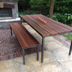 Redwood Dining Table and Benches - Outdoor Dining Table and Benches in Redwood with Tubular Steel Base