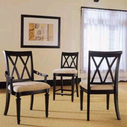 "American Drew 919-637 Splat Back Arm Chair Camden - Black - Splat Back Arm Chair - American Drew Camden - Black Collection 919-637 These Splat Back Arm Chair by American Drew is a stupendously designed product for your place. The criss-cross pattern at its back is its striking trait. The black finish creates a bold and contemporary statement. The excellent quality of wood does not perish easily. Regular wipes would keep its shine intact. If you talk about the sitters comfort then the spongy seat is here to let you experience a pampering treatment. Wide and elegant American Drew 919-637 is a praiseworthy launch by American Drew.This splat back arm chair from Camden Black collection displays simple forms with quiet traditional reference. Its gentle curves and a beautiful rustic black finish lets the character of the wood show through. It features brushed nickel finish hardware. This chair can be placed anywhere be it urban classic or vacation home decor. Dimension of chair is 23W x24D x39H with seat height 20"" and arm height 25.Features:All Chairs are shipped and packed 2 per carton.Chairs must be purchased in pairs.Weight & price listed is for one chair.This Price Includes:Splat Back Arm ChairItem:Weight:Dimensions:Splat Back Arm Chair27.5 lbs23"" W X 24"" D X 39"" HManufacturer's Materials:Hardwood solidsMaple Ash veneers and select hardwoods"