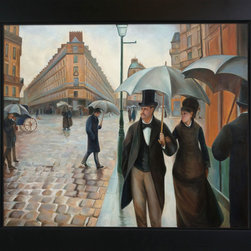 "overstockArt.com - Caillebotte - A Paris Street, Rainy Day - 20"" X 24"" Oil Painting On Canvas Hand painted oil reproduction of a famous Caillebotte painting A Paris Street, Rainy Day . This is a remarkable oil painting with exceptional use of color, detail and brush strokes. The original painting was created in 1877. Today the painting has been carefully recreated detail-by-detail, color-by-color to near perfection. Gustave Caillebotte (1848 - 1894) was a French painter, member and patron of the group of artists known as Impressionists, though he painted in a much more realistic manner than many other artists in the group. Caillebotte was noted for his early interest in photography as an art form."