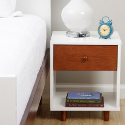 None - Beckham Chestnut Nightstand - The mid-century Beckham nightstand in a lovely shade of chestnut will add simplistic style to your bedroom.  A small drawer and an open shelf lets you store everything you need.