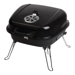 Blue Rhino - Grill Boss Portable Charcoal Grill - Blue Rhino /Uniflame Grill Boss Portable Charcoal Grill - Cooking Area - 260 Sq. in. (9 Burgers) - 177 sq. in. Main (9 Burgers) - 83 sq. in. Warming. Features include fold legs and locking lid for safe portability, black porcelain-coated hinged lid, porcelain-coated main cooking grid and dual vents for better control. Ideal for tailgating, camping and picnicking - charcoal not included.