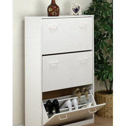 """Venture Horizon - Venture Horizon Triple Shoe Chest, White - Features: -Cabinet keeps shoes clean and protected. -Tilting doors save space. -Stackable. -Accommodates both men's and women's shoes. -Large storage capacity. -Available in oak, cherry, black and white wood finish. -Overall dimensions: 48"""" H x 30"""" W x 11.5"""" D. -Cabinets are 30"""" W x 11.5"""" D. This good looking, practical cabinet will accommodate the largest shoe collections, getting them off the floor and neatly organizing them in their own space."""
