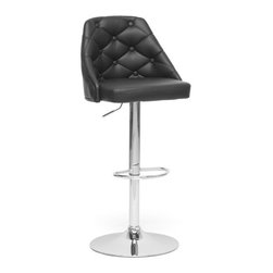 Baxton Studio - Baxton Studio Salzburg Black Modern Bar Stool - Traditional button tufting marries contemporary chrome in this trendy bar stool. The Salzburg Modern Bar Chair features a chromed steel base, gas lift piston, and 360 degree swivel as well as a button-adorned black faux leather seat, which is padded with foam for comfort. A plastic ring underneath the base will help protect sensitive flooring from scuffs and scratches. The Salzburg Stool is made in China and requires assembly. To clean, wipe with a damp cloth.